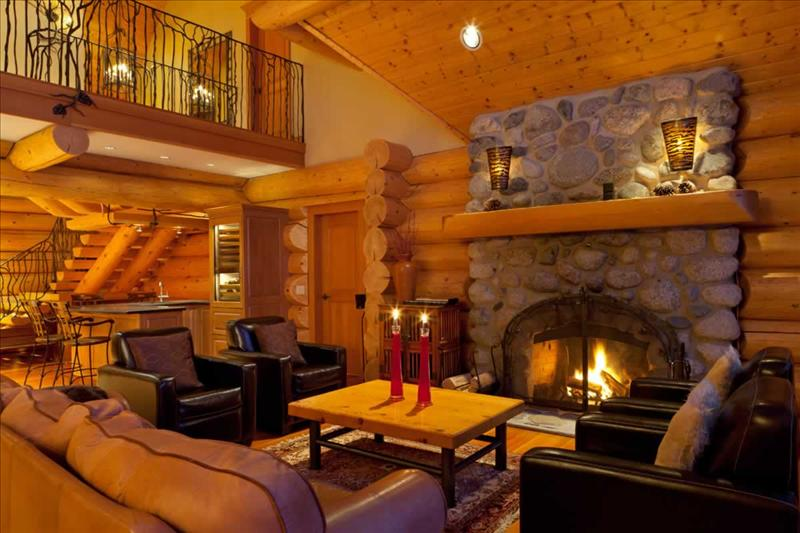 Whistler Accommodations - Log Home Living Room with Fireplace - Rentals By Owner