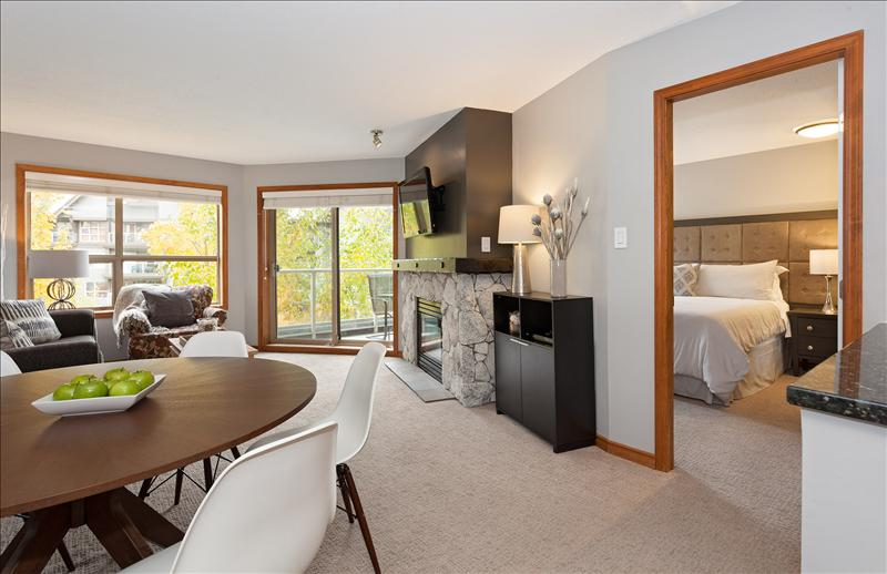 Whistler Accommodations - Dining/living area with master bedroom to the right - Rentals By Owner
