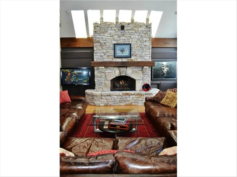 Whistler Accommodations - Living Room Fireplace in Whistler Chalet - Rentals By Owner
