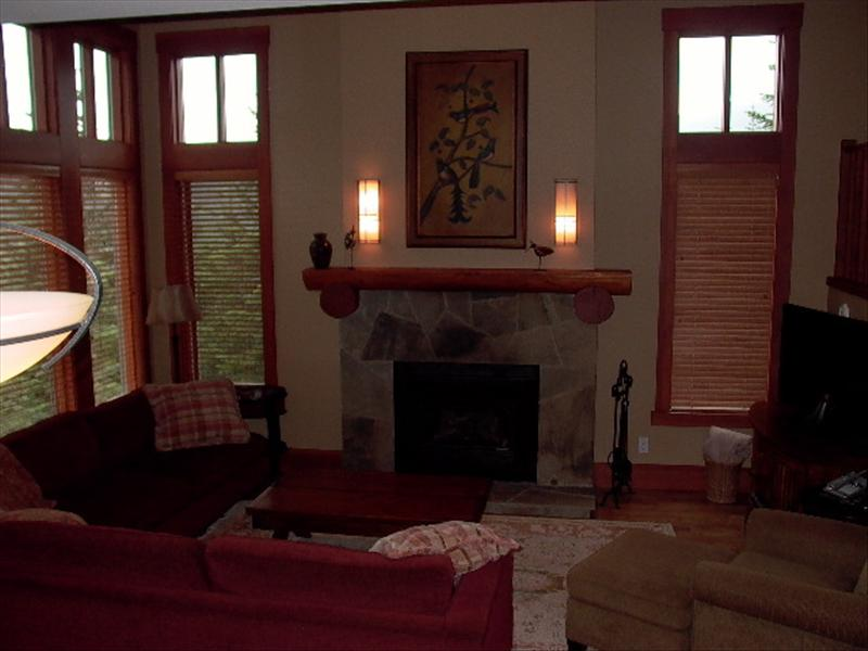 Whistler Accommodations - Taluswood Living Room with Fireplace - Rentals By Owner